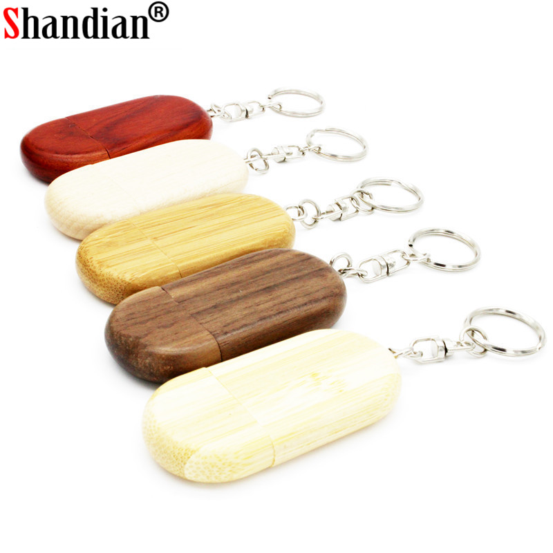SHANDIAN Free Custom Logo Usb Flash Drive Wooden Creative Gift Pendrive 4GB 8GB 16GB Pen Drive 32GB 64GB U Disk Memory Stick