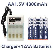 1.2v 4800mah ni mh aa baterias recarregáveis pré-carregadas ni-mh bateria recarregável 1.2v aa para brinquedos câmera microfone + carregador