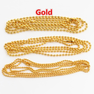 5 шт., 1,5 мм, 2 мм, 2,4 мм, позолоченные шариковые бусины, цепочка, ожерелье, соединитель из бисера 65 см (25,5 дюйма)