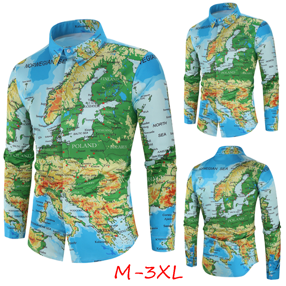 World Map Print Shirt Men 2019 Autumn Fashion Hidden Button Long Sleeve Casual Shirts Cotton Hip Hop Streetwear Chemise Homme
