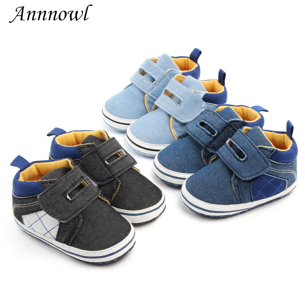 Baby Boy Faux Leather Pram Shoes Infant Booties PreWalker Trainers Newborn to 12