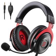 Eksa gaming headset wired gamer fone de ouvido 3.5mm sobre fones de ouvido com cancelamento de ruído mic para pc/xbox/ps4 um controlador