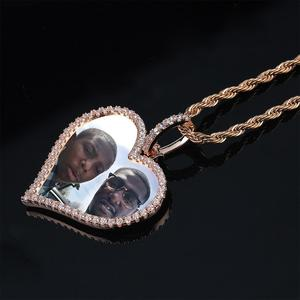 Image 2 - TOPGRILLZ مخصص صور القلب ميداليات قلادة و قلادة مع 4 مللي متر تنس سلسلة AAA مكعب الزركون الرجال الهيب هوب مجوهرات