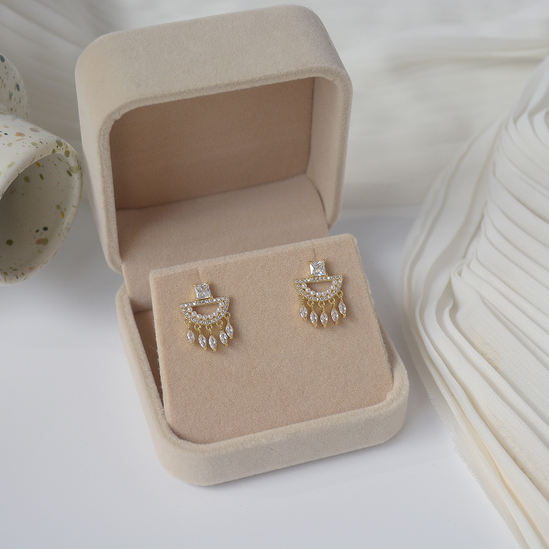 New Fashion Jewelry Micro-inlaid Zircon Pearl Geometric Tassel Luxury Earrings for Woman Shine Holiday Daily Earring