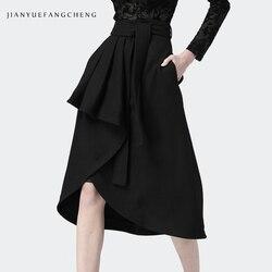 Fashion Women' Winter Black Wool Skirt High Waist A-Line Belt Tie-Up Irregular Draped Midi Skirts Warm Outwear Plus Size Bottoms