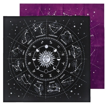 12 Constellations Tarot Card Tablecloth Velvet Divination Altar Cloth Board Game Fortune Astrology Oracle Card Pad