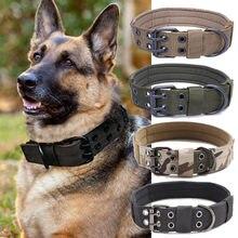 Militar tático coleira do cão k9 trabalho durável ajustável colar treinamento ao ar livre pet cão coleiras filhote de cachorro para grandes cães médios