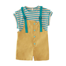 BINIDUCKLING New Design Kids Girls Clothes Set Cotton Stripe T-Shirt+ Overalls Suit Summer Children 4T-9T