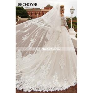 Image 5 - ファッション取り外し可能な2 1ウェディングドレスでbechoyer N239アップリケレースaラインプリンセスクリスタルベルト花嫁ドレスvestidoデnoiva