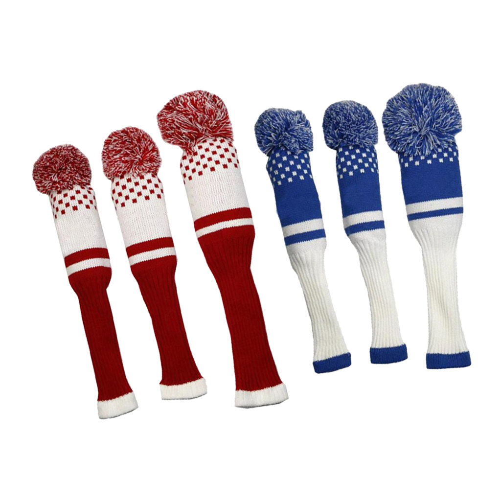 2 Pieces Golf Knitting Clubs Headcovers Wood Driver Caps Protector With Pom Poms Mallet Covers For Golfers