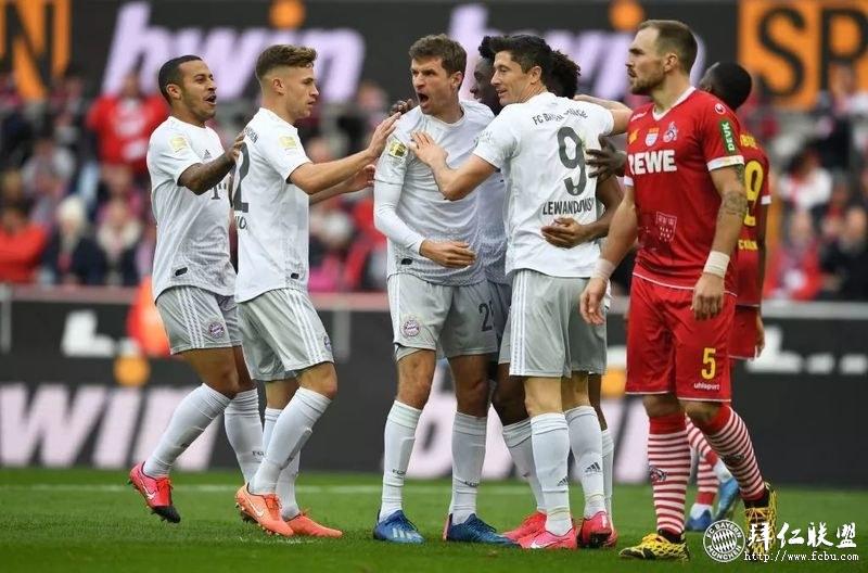 德甲第22轮 科隆1:4拜仁 穆勒两助攻格纳布里梅开二度1
