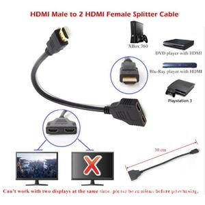 1 in 2 out HDMI splitter 1080P HDMI Splitter Male to Female Cable Adapter Converter HDTV 1 Input 2 Output 2-port HDMI Switch r20
