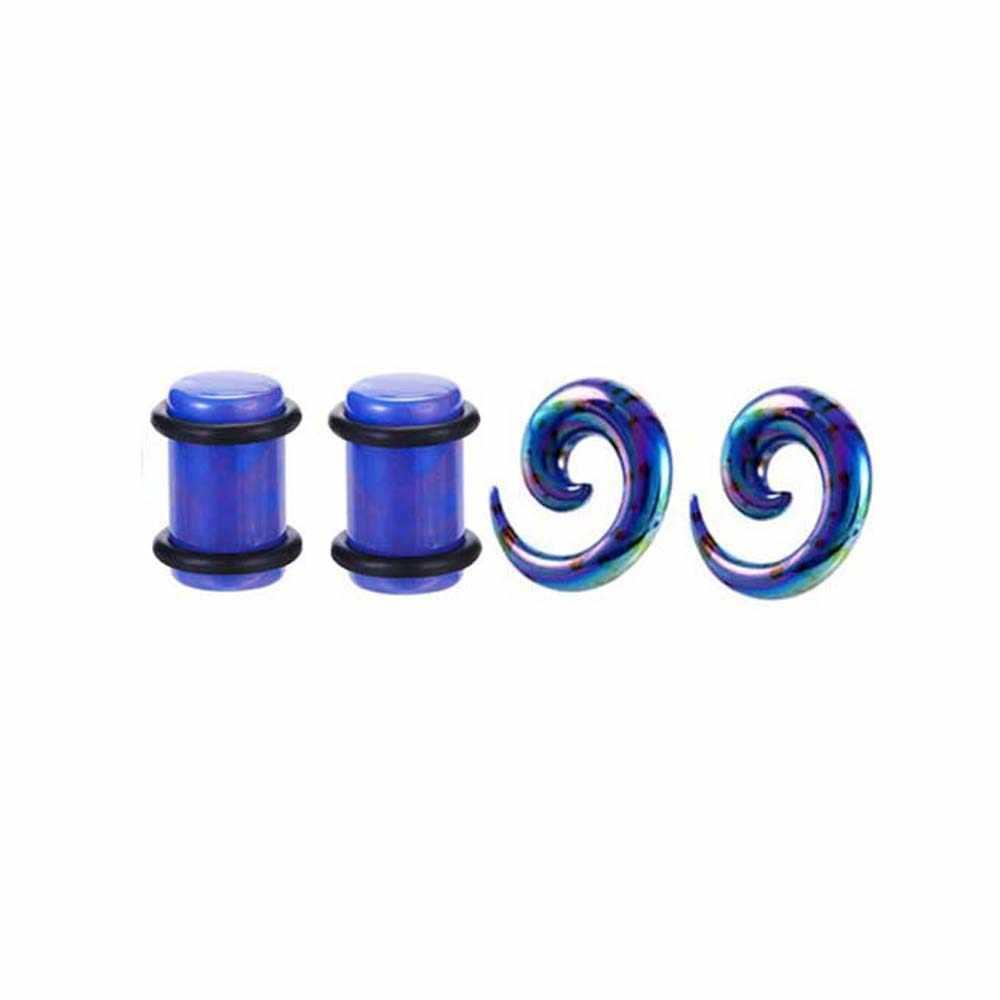 NEW2Pair4PCS acrylique 3D impression oreille jauge Dot vis ajustement chair Tunnel oreille bouchon expanseur civière creux corps bijoux escargot Kit