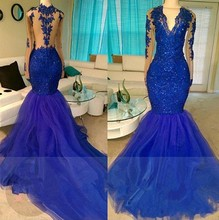 Shinny Royal Blue Mermaid Prom Dresses Sexy Illusion Long Sleeves Sheer Appliqued Sequined Tulle Party Evening Gowns