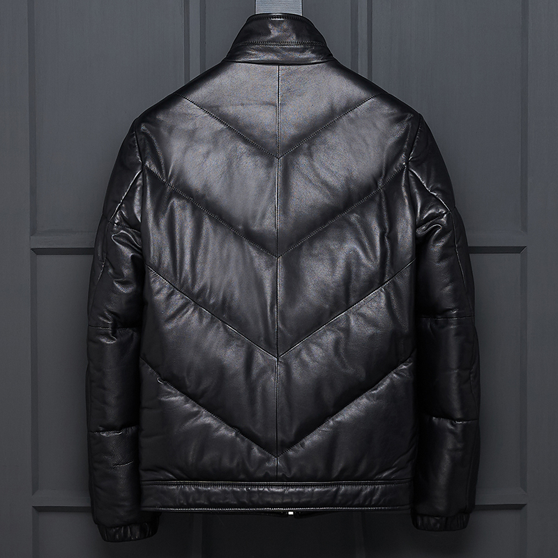 Genuine Leather Jacket Korean Winter Duck Down Jacket Men Sheepskin Coat Short Warm Blouson Cuir Homme LBL-7163 KJ1376