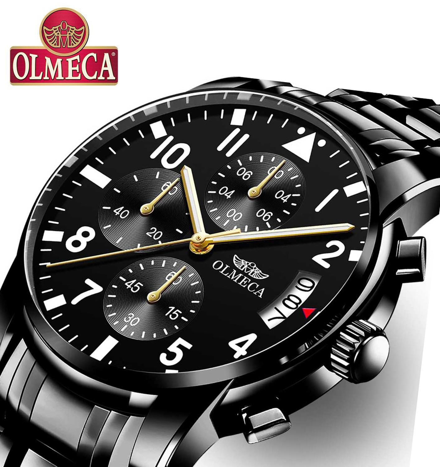 OLMECA Luxury Men Watch Relogio Masculino Waterproof Fashion Wrist Watch Luminous Hands Military Black Quartz Waterproof Watches