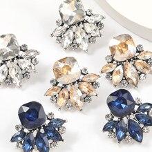 Pauli manfi 2021 moda Metal Rhinestone szkło geometryczne kolczyki damskie popularne kreatywny urok Party biżuteria akcesoria