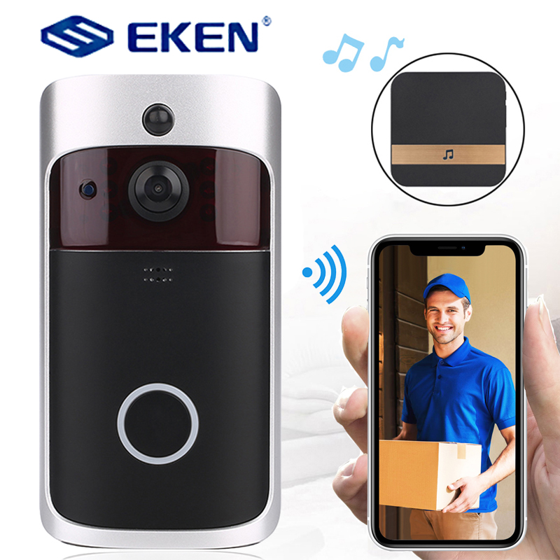 EKEN V5 WIFI Doorbell Smart IP Video Intercom Video Door Phone Door Bell Camera For Apartments IR Alarm Wireless Security Camera-in Doorbell from Security & Protection