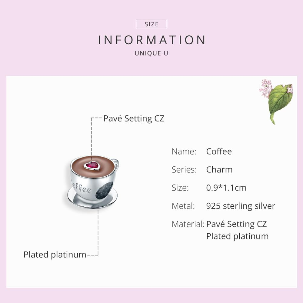 bamoer Coffee Cup Metal Beads for Women European Charm Bracelet 925 Sterling Silver Enamel Fashion Charms