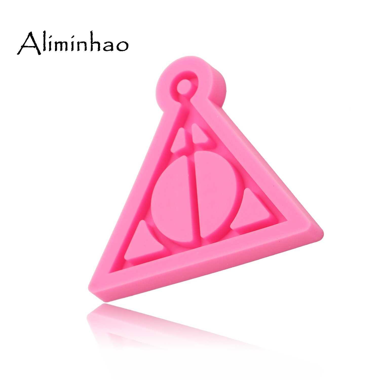 DY0085 Sáng Bóng Harry Potter Logo móc khóa khuôn Mặt Dây Chuyền Polymer Đất Sét TỰ LÀM Trang Sức Làm lấp lánh Epoxy Nhựa Silicon khuôn