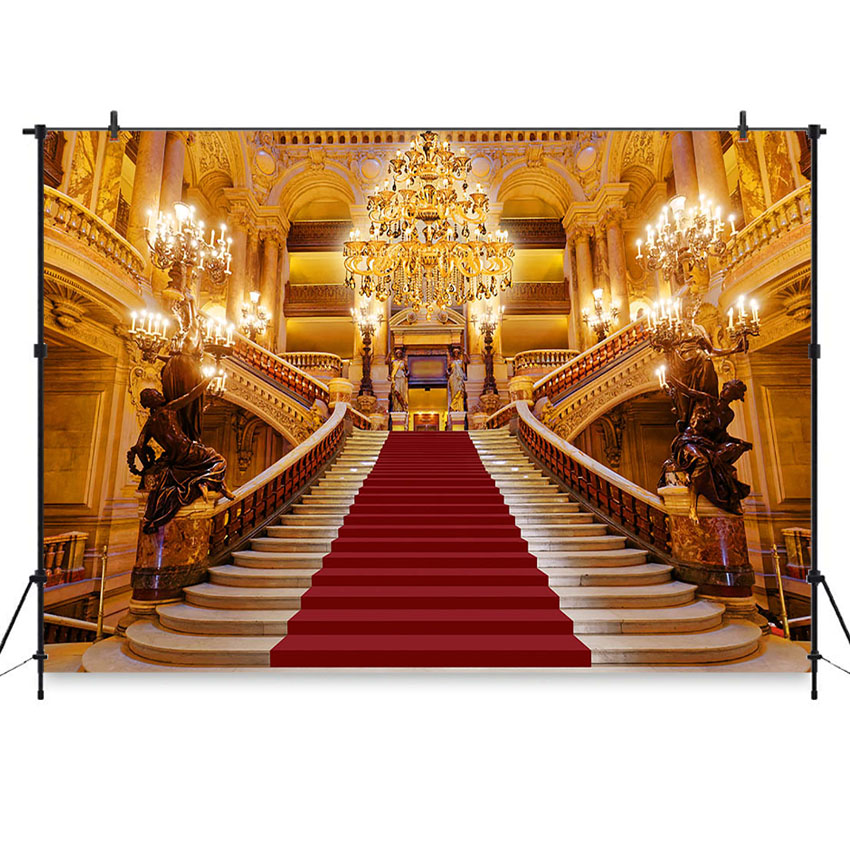 Photography Backdrop Red Carpet Stairs Beauty And The Beast Party Decorations Opera Castle Light Palace Photo Background Studio Leather Bag