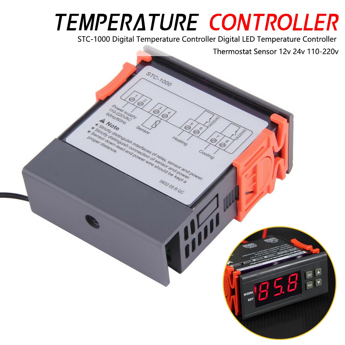 Digital Temperature Controller STC-1000 Thermoregulator thermostat Heater Cooler