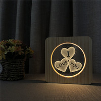 I Love U Heart Shape 3D LED Arylic Night Lamp Table Light Switch Control Carving Lamp for Children's Room Decorate Birthday Gift