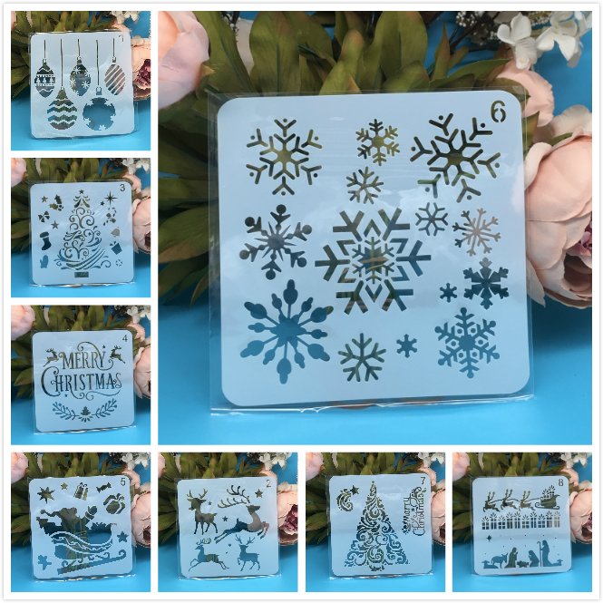 8Pcs/Set 5inch Merry Christmas Snowflake DIY Layering Stencils Painting Scrapbook Coloring Embossing Album Decorative Template