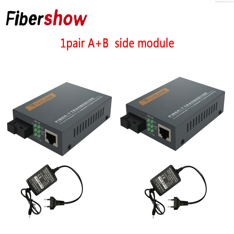 3 Pair HTB-<font><b>GS</b></font>-03 A&B Gigabit Fiber Optical Media Converter 1000Mbps Single Mode Single Fiber SC Port External <font><b>Power</b></font> <font><b>Supply</b></font> image