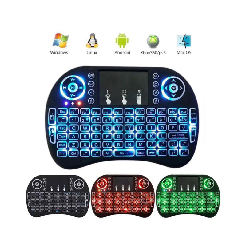 Mini I8 Flymouse With Touchpad Three-Color Backlight 2.4G Mini Wireless Keyboard Air Mouse
