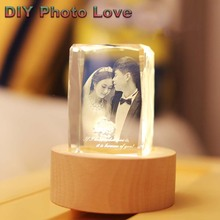 Customized Rectangle Crystal Wedding Family Baby Photo USB Night Light DIY Personalized Picture Christmas Tabl Gifts Home Decor