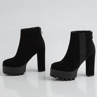 2019 black high heel platform boots winter shoes ladies punk boots high heels women's ankle boots women's velvet winter boots