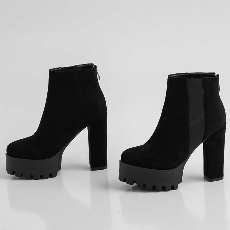 2019 schwarz hohe ferse plattform stiefel winter schuhe damen punk stiefel high heels frauen stiefeletten frauen samt winter stiefel