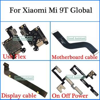 Para xiaomi mi 9 t global usb flex cabo de exibição cabo placa-mãe alto-falante em fora de energia cabo de volume microfone cabo flexível
