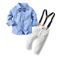 New autumn children boys bowknot clothes suit baby gentleman