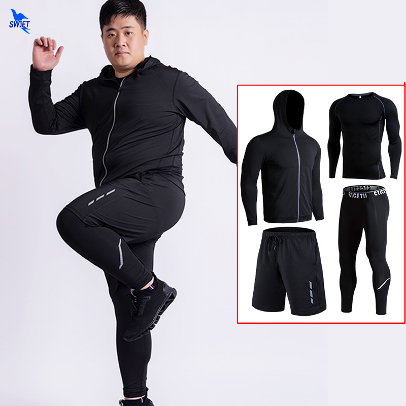 <font><b>Plus</b></font> <font><b>Size</b></font> 5XL <font><b>6XL</b></font> <font><b>Mens</b></font> Quick Dry 4 Pcs Running Set Compression Sport Suits Sportswear <font><b>Clothing</b></font> Gym Fitness Training Tracksuit image
