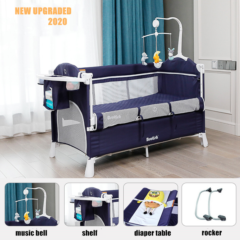 Multifunctional Baby Crib Foldable Baby Bed With Diaper Table Cradle Rocker Kid Game Bed Portable Baby Crib For 0-6 Years Kids 2