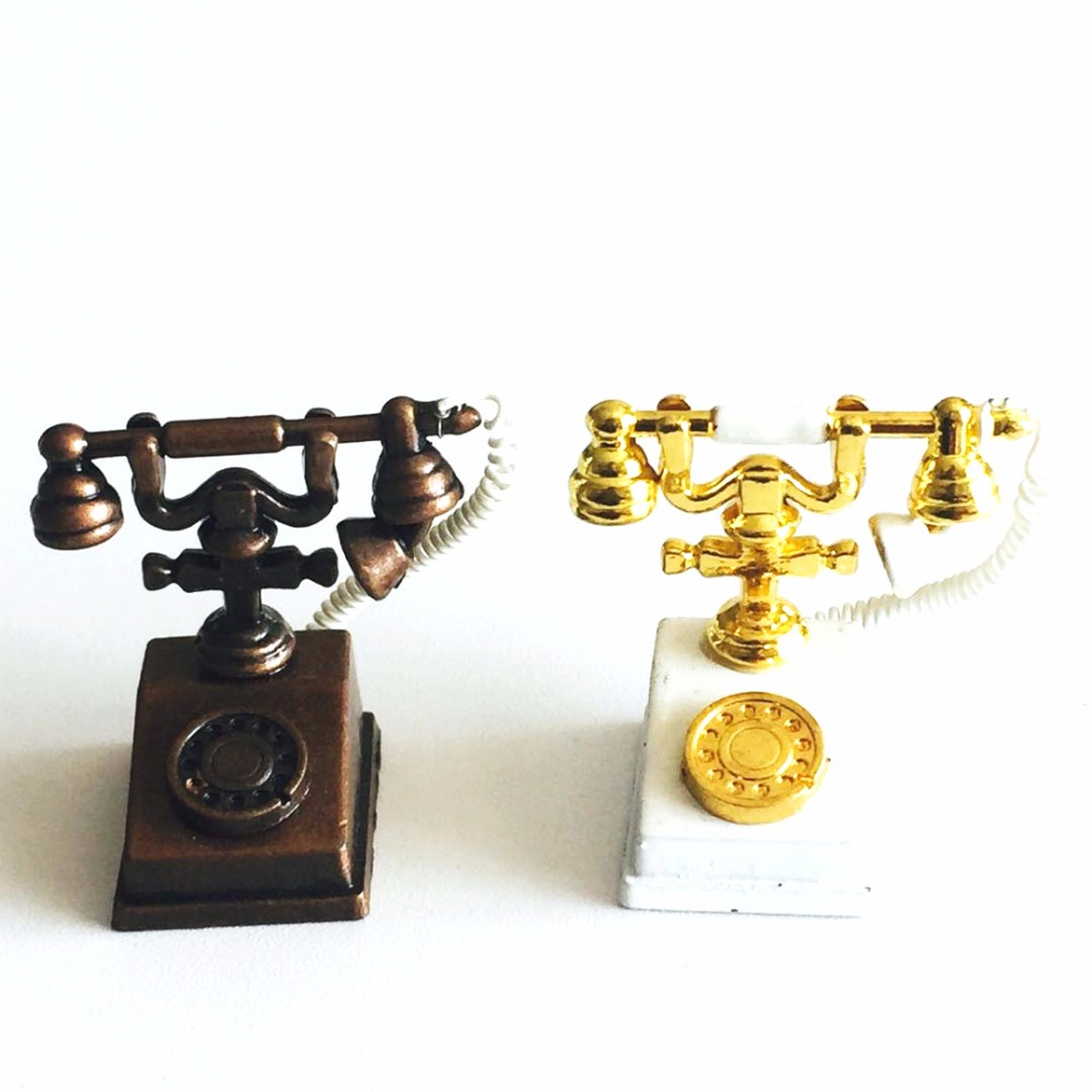 1:12 Old Fashioned Phone Dollhouse Miniature Vintage Home Wired Telephone Furniture For Doll House Accessories