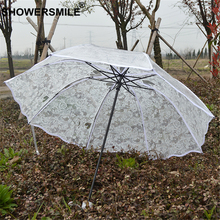 SHOWERSMILE Lace Transparent Umbrella Rain Women White Folding Plastic Clear Wedding Parasol Long Handle Ladies Guarda Chuva