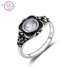Кольцо из стерлингового серебра 925 пробы, Круглый 6 мм натуральный лунный камень, кольцо, винтажный цветок, помолвка Свадебная вечеринка, подарок