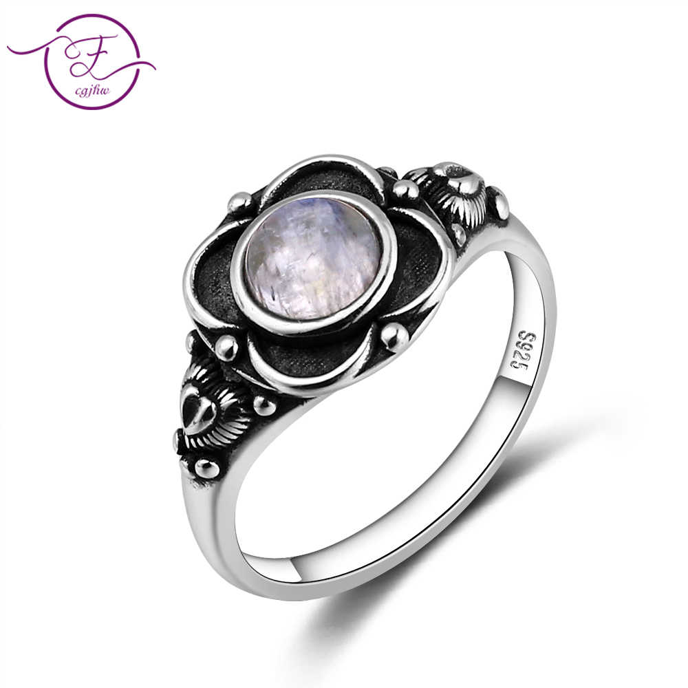 100% 925 Sterling Silver Jewelry Ring Round 6MM Natural Moonstone Ring Vintage Flower Engagement Wedding Party Gift