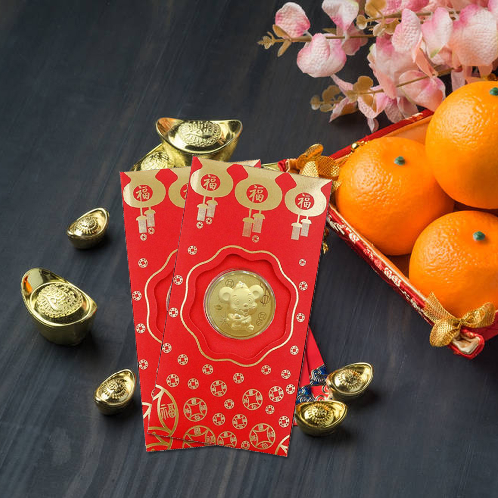 New Year Cute Mouse Christmas Lucky Red Envelope 2020 Red Envelope Lovely Cartoon Blessing Commemorative Coin Alloy Purse Gift