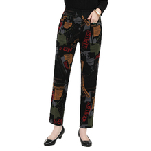 Middle Aged Woman Floral Pant Autumn Spring  High Elastic Wa
