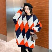 Зимний свитер для беременных женщин в цветную клетку размера плюс, длинный рукав летучая мышь, трикотажная одежда для беременных, модные пуловеры, пальто
