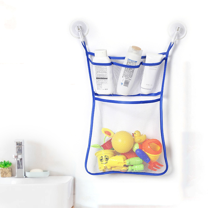 1PC Bathroom Sucker Hanging Storage Mesh Bags Multi-purpose Toys Cosmetics Organizer Pouch Baby Bath Toys Shampoo Organizer image