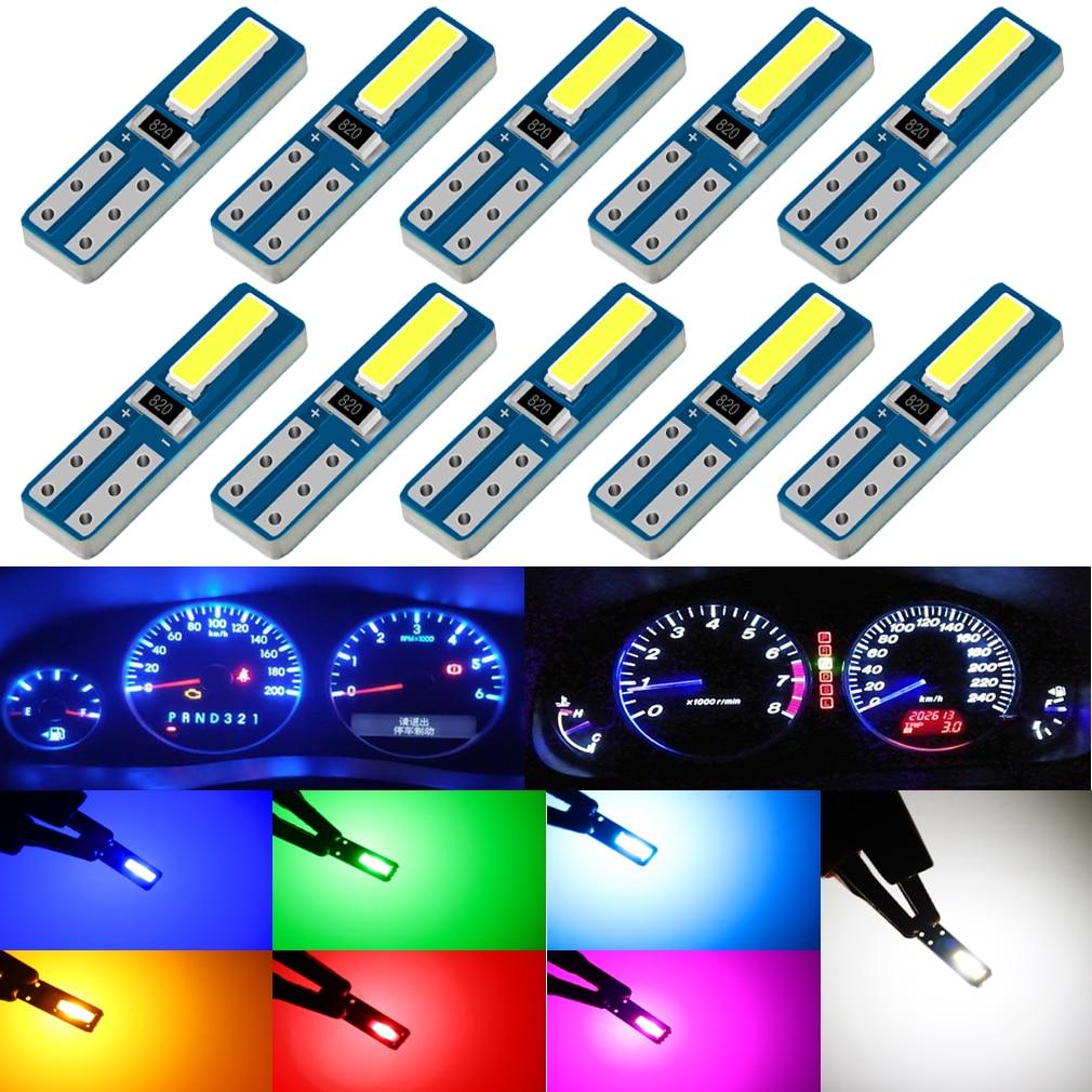 10 шт. T5 светодиодный лампы W3W W1.2W светодиодный авто светодиодный лампы приборной панели автомобиля инструмент светильник интерьера автомоб...