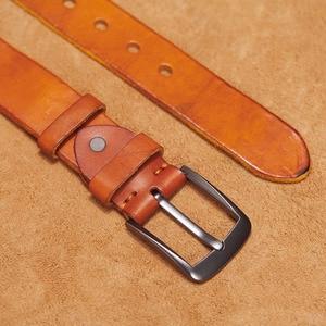 Image 5 - VAMOS KATOAL Men leather belt,Retro top quality Genuine Leather Belts for men, Male metal Pin Buckle belt