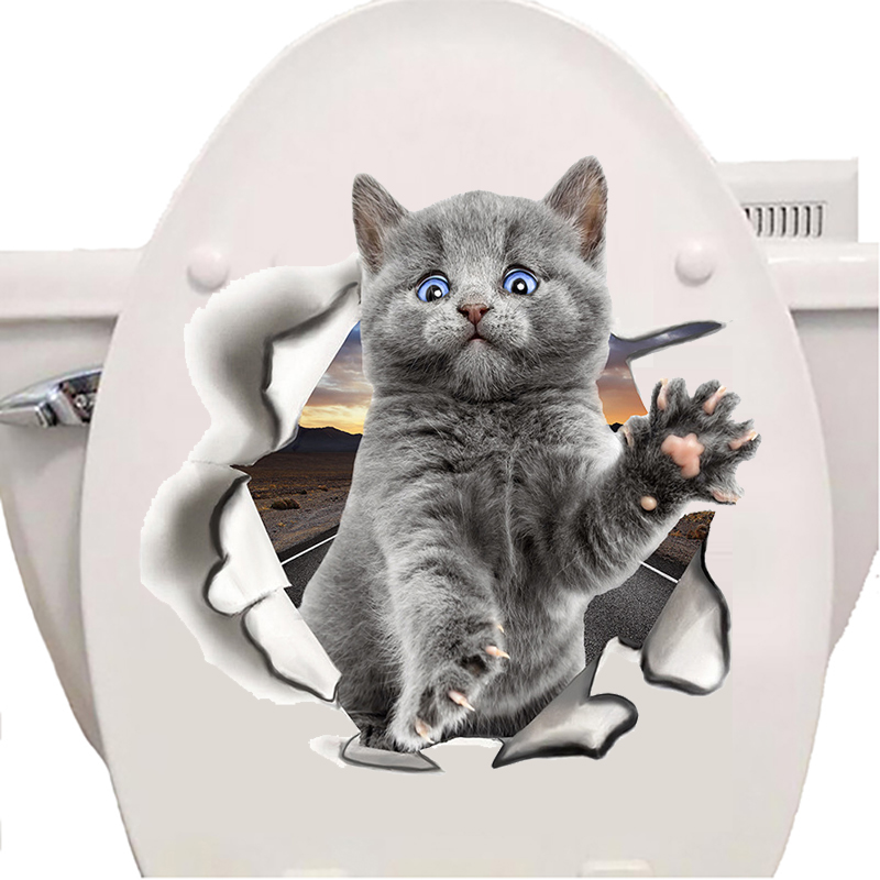 Fashion 3D Cats Toilet Stickers Lovely Animal Wall Decal Lovely Blue Cat Home Decor Art PVC Vinyl Bathroom Decoration Waterproof
