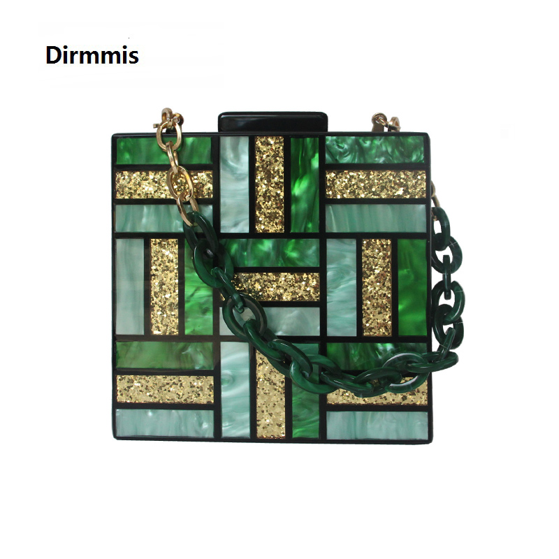 Handbags Luxury Clutch Chain Vintage Box Square Acrylic Party Gold Green Women Cute New-Fashion
