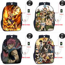 Anime Fairy Tail USB Charge High Quality Backpack Boys Girls Daily School Bags Men Women Fashion USB Charging Travel Rucksack